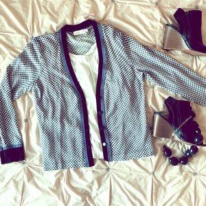 Tory Burch Blue Fallon Dot Cardigan Sweater Large